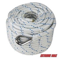 "Extreme Max 3006.2532 BoatTector Double Braid Nylon Anchor Line with Thimble - 5/8"" x 200', White w/ Blue Tracer"