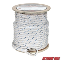 "Extreme Max 3006.2535 BoatTector Double Braid Nylon Anchor Line with Thimble - 5/8"" x 250', White w/ Blue Tracer"