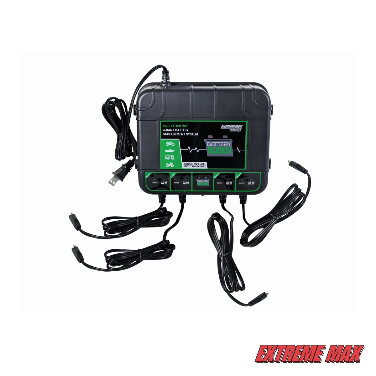 Extreme Max 1229.4023 Buddy 4-Bank Battery Charger//Maintainer