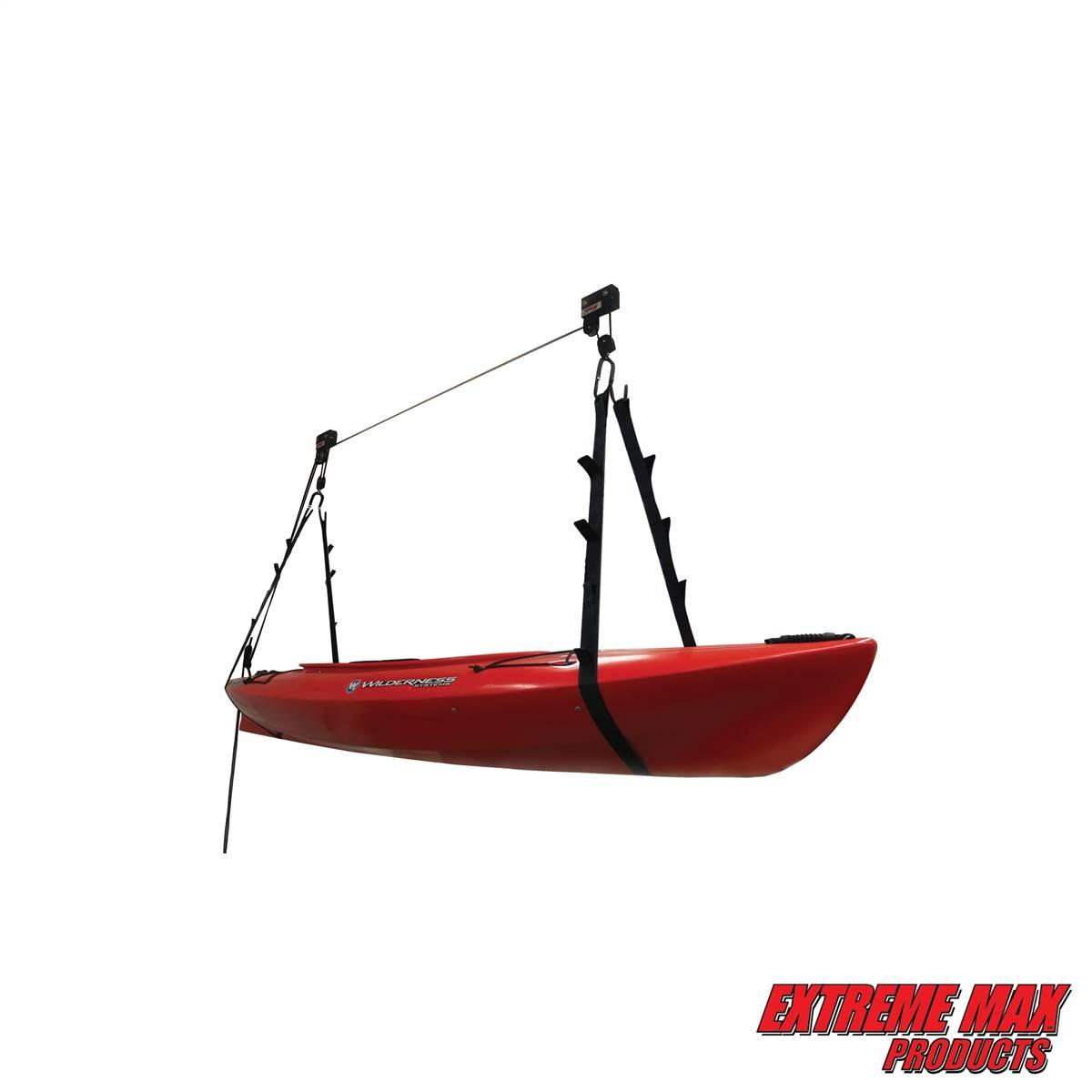 Capacity 120 lb Extreme Max 3004.0204 Kayak//Canoe//Bike//Ladder Hoist /& Lift for Storage in Shop or Garage