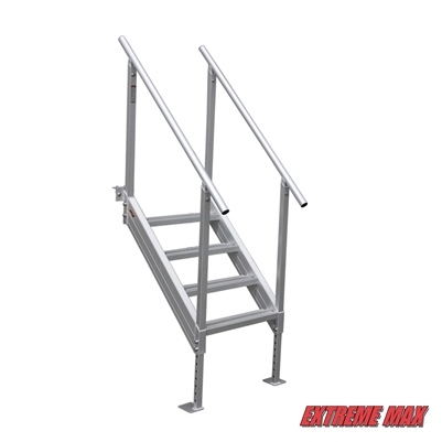 Extreme Max 3005.3843 Universal Mount Aluminum Dock Stairs - 4 Step