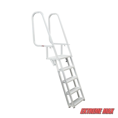 Extreme Max 3005.3916 Deluxe Flip-Up Dock Ladder with Welded Step Assembly - 5-Step