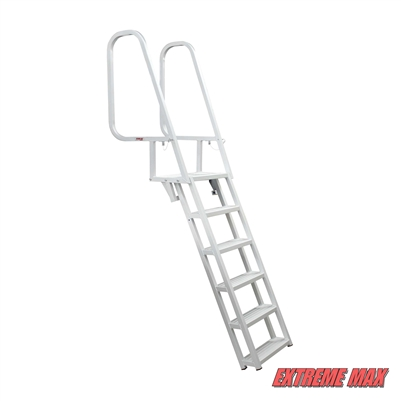 Extreme Max 3005.3919 Deluxe Flip-Up Dock Ladder with Welded Step Assembly - 6-Step