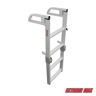 Extreme Max 3005.4089 Aluminum 4-Step Compact Folding Pontoon Boarding Ladder