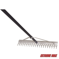 "Extreme Max 3005.4233 24"" Commercial-Grade Screening Rake for Beach and Lawn Care with 66"" Handle"
