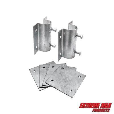 Extreme Max 3005.5519 Dock Post Bracket Kit - Includes Two Post Brackets and Four Mounting Plates