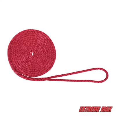 "Extreme Max 3006.2006 BoatTector 3/8"" x 15' Premium Solid Braid MFP Dock Line - Red"