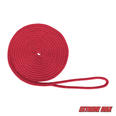 "Extreme Max 3006.2018 BoatTector Solid Braid MFP Dock Line - 1/2"" x 20', Red"