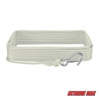 "Extreme Max 3006.2024 BoatTector 3/8"" x 50' Premium Solid Braid MFP Anchor Line with Snap Hook - White"