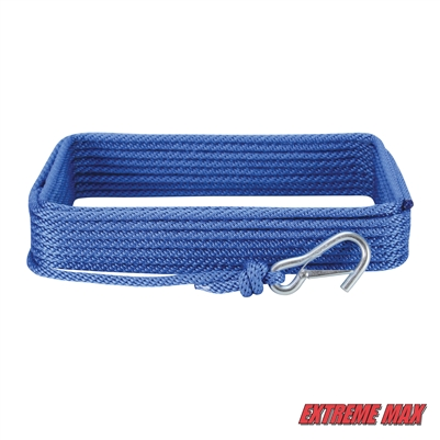 "Extreme Max 3006.2030 BoatTector 3/8"" x 50' Premium Solid Braid MFP Anchor Line with Snap Hook - Royal Blue"