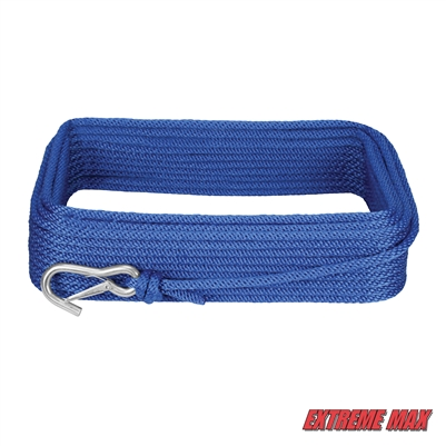 "Extreme Max 3006.2039 BoatTector 3/8"" x 100' Premium Solid Braid MFP Anchor Line with Snap Hook - Royal Blue"