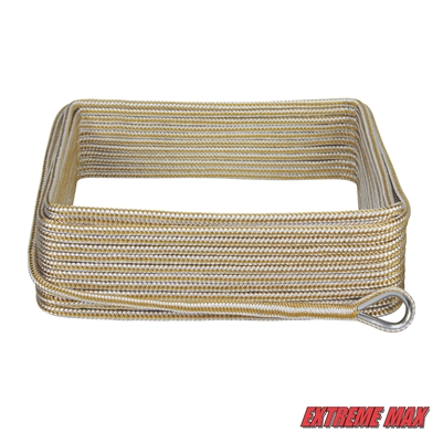 "Extreme Max 3006.2042 BoatTector 3/8"" x 100' Premium Double Braid Nylon Anchor Line with Thimble - White & Gold"