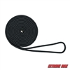 "Extreme Max 3006.2084 BoatTector 3/8"" x 15' Premium Double Braid Nylon Dock Line - Black"