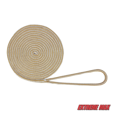 "Extreme Max 3006.2090 BoatTector 3/8"" x 20' Premium Double Braid Nylon Dock Line - White & Gold"