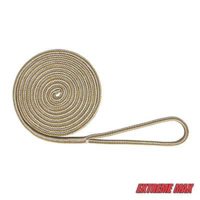 "Extreme Max 3006.2099 BoatTector Double Braid Nylon Dock Line - 1/2"" x 15', White & Gold"