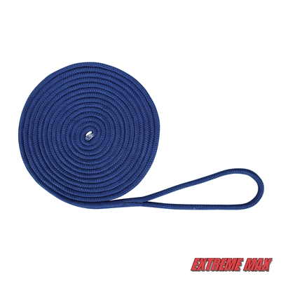 "Extreme Max 3006.2129 BoatTector Double Braid Nylon Dock Line - 1/2"" x 25', Royal Blue"