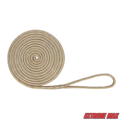 "Extreme Max 3006.2144 BoatTector Double Braid Nylon Dock Line - 5/8"" x 35', White & Gold"