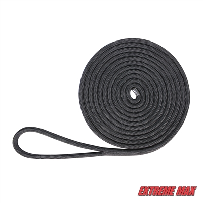 "Extreme Max 3006.2147 BoatTector Double Braid Nylon Dock Line - 5/8"" x 35', Black"