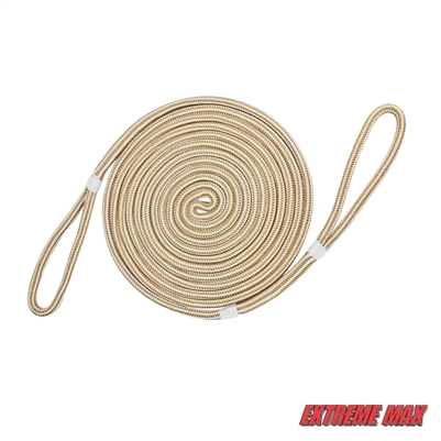 "Extreme Max 3006.2399 BoatTector Premium Double Looped Nylon Dock Line for Mooring Buoys - 3/4"" x 35', White & Gold"