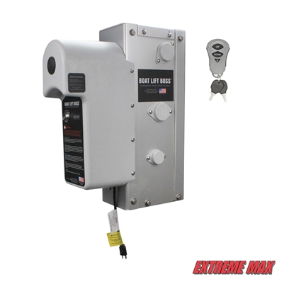 Extreme Max 3006.4577 Boat Lift Boss Integrated Winch with Remote Control Key Fob - 120V, 5000 lbs.