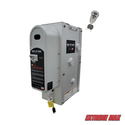 Extreme Max 3006.4653 Key Turn Boat Lift Boss Integrated Winch with Remote Control Key Fob - 120V, 7500 lbs.
