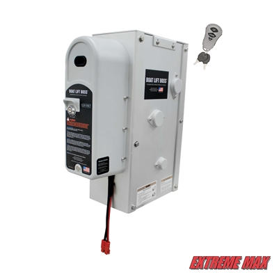 Extreme Max 3006.4662 Key Turn Boat Lift Boss Integrated Winch with Remote Control Key Fob - 12/24V, 7500 lbs.