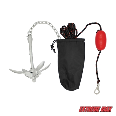 Extreme Max 3006.6785 BoatTector Complete Deluxe Grapnel Anchor Kit for Small Boats, Kayaks, PWC, Jet Ski, Paddle Boards, etc. - 3.5 lbs.