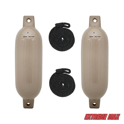 "Extreme Max 3006.7449 BoatTector Fender Value 2-Pack - 6.5"" x 22"", Sand"