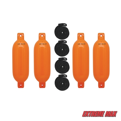 "Extreme Max 3006.7641 BoatTector Inflatable Fender Value 4-Pack - 6.5"" x 22"", Neon Orange"