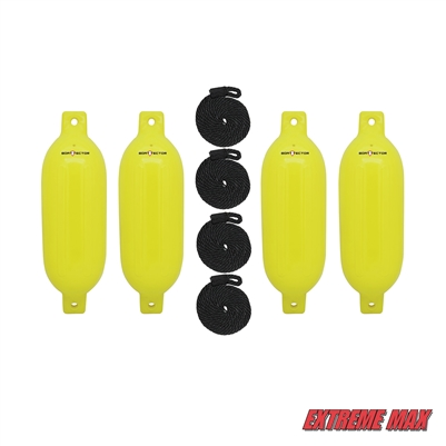 "Extreme Max 3006.7644 BoatTector Inflatable Fender Value 4-Pack - 6.5"" x 22"", Neon Yellow"