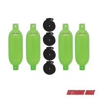 "Extreme Max 3006.7647 BoatTector Inflatable Fender Value 4-Pack - 6.5"" x 22"", Neon Green"