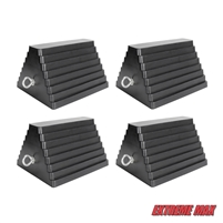 Extreme Max 5001.5775.4 Heavy-Duty Rubber Wheel Chock with Eyebolt - Value 4-Pack