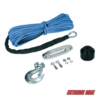 "Extreme Max 5600.3099 ""The Devil's Helper"" Complete Synthetic ATV Winch Rope Kit - Blue"