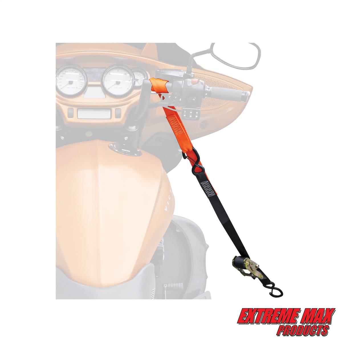 4-Pack Basics Soft Loop Motorcycle Tie Down Straps Red
